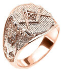 Solid Rose Gold Masonic Men's Ring Scottish Rite