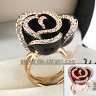 A1-R3070 Fashion Party Rose Flower Ring 18KGP CZ Rhinestone Crystal Size 6-9