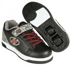 Heelys X2 Dual Up Black Grey Elephant Roller Shoes + Free How to DVD
