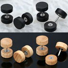 Organic Wood 16g Steel Fake Cheater Ear Plugs Barbell Ear Studs Earring Piercing