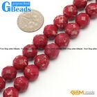 Round Faceted Gemstone Dark Red Crazy Lace Agate DIY Jewelry  Making Beads 15""