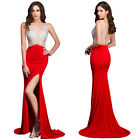 Backless Sleeveless Formal High-Split Wedding Gown Evening Prom Party Dress Plus