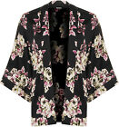 New Womens Floral Print Open 3/4 Sleeve Kimono Blouse Cardigan Ladies Top 8-14
