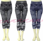 Girls Cropped Leggings Denim Jeans Printed Jeggings Kids Clothes Ages 4-14 Years