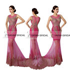 Rhinestone Embroidered Sheer Long Plus Pageant Evening Gown Prom Party Dresses