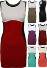 New Ladies Sleeveless Bodycon Colour Block Womens Short Shift Mini Dress 8 - 14