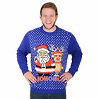 Adults Unisex Novelty Blue Knitted Christmas Xmas Jumper - Santa & Reindeer