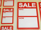 Bright Red Reduced Sale Was / Now Price Point Stickers Swing Tag Sticky Labels
