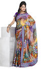 Fancy Georgette With Silk Patti Multi colored Printed Sarees By triveni