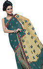 Triveni Multi Faux Georgette, Net Embroidered Designer Saree
