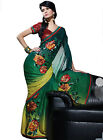 Fancy Satin Sheer Multi colored Embroidered Sarees By triveni