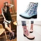 Womens Ladies Floral Print Lace Up Mid Heel Military Riding Ankle Boots Shoes 04