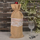 12/24/60PCS Rustic Burlap Lace Wine Bottle Gift Bag Wedding Party Favors 15*35cm