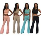 Sexy Women Cropped Tank Top Vest+High Waist Palazzo Bell Yoga Athletic Pants 2PC