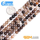 Round Frost Matte Banded Stripe Agate Gemstone Beads For Jewelry Making 15""