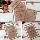 Vintage Wedding Invitations & Evening Invites Personalised - Bunting Kraft