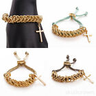 Fashion Women Girl Handmade Braided Rope Cross Charm Bangle Bracelet Cuff Gift