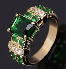 Size 6,7,8,9,10 Emerald 18K Gold Filled Woman's Fashion Wedding Rings Halo Gift