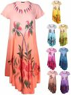 Womens Plus Size Tie Dye Print Ladies Short Sleeve Flare Fishtail Dress Long Top