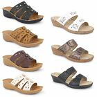 New Womens Ladies Low Cork Wedge Diamante Slip On Beach Mules Sandals Shoes Size