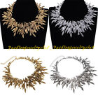 Fashion Charm Gold Silver Metal Leaf Chain Chunky Bib Statement Collar Necklace