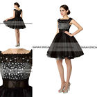 Beaded Cocktail Evening Short Black Dresses Prom Homecoming Sweet 16 Party Gowns