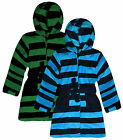 Boys Stripe Hooded Dressing Gown New Kids Soft Touch Bath Robe Ages 2-6 Years