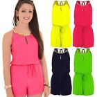 Womens Sleeveless Gathered Tie Waist Gold Plated Necklace Chiffon Playsuit