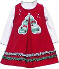 RARE EDITIONS 24 Month Christmas Tree Corduroy Dress White Bodysuit NWT