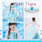 FREE Tiara ! Frozen Elsa Princess Costume Girls Christmas Party Dresses AGE 3-8Y