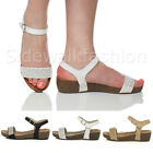 WOMENS LADIES DIAMANTE ANKLE STRAP PLATFORM MID HEEL WEDGE SANDALS SHOES SIZE