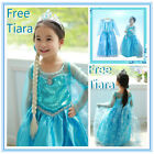 FREE CROWN * Frozen Elsa Costume Dress Girls Christmas Party Dresses AGE 3 to 8Y