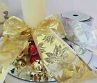 1m 60mm WIRED GOLD SILVER METALLIC RIBBON PONSETTIA CHRISTMAS,TREE,CAKE,BOW,GIFT