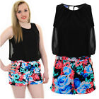 Womens Sleeveless Chiffon Lined Tie Back Floral Turn Up Hem Romper Playsuit