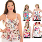 Womens Neon Floral Textured Crepe Padded Bra Cup Strappy Peplum Flared Top