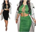 Sexy Women Bandage Bodycon Cropped Top Blouse+High Waist Ruch Pencil Skirt Club