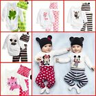 New Baby Boy Girl Mickey Minnie Animal Outfit set Beanie Top Pant costume 6M-24M