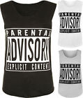 New Womens Parental Advisory Text Slogan Logo Print Sleeveless Ladies Vest Top