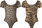 New Ladies Animal Print Stretch Bodysuit Womens Leopard Short Sleeve Top 8 - 14