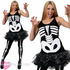 SKELETON FANCY DRESS COSTUME MENS SKINSUIT LADIES TUTU OUTFIT HALLOWEEN