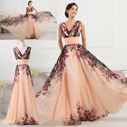 Plus Size 20-26W 50's Floral Bridesmaid Evening Party Long Prom Dress