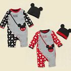 New baby girl boy Mickey Mouse/Minnie Mouse Romper+Beanie outfit costume 6M-24M