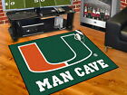 """Miami Hurricanes Man Cave Area Rug 34"""" x 43"""", 5 ft x 6 ft or 5 ft x 8 ft"""