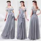 Vintage Chiffon Lace Mother of The Bride/Groom Wedding Long Dress Formal Outfits