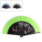 Wedding Dancing Party Girl Flower Pattern Nylon Bamboo Rib Folded Hand Fan Gift