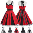 Hot Red Dots Vintage Pin Up Swing 50s 60s Casual Carnival Party Dress