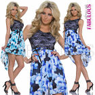Sexy High Low Floral Print Dress Evening Clubbing Summer Size 10 8 6 / XS S M