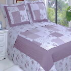 COTTAGE COUNTRY Purple Roses PATCHWORK Lightweight QUILT Coverlet Set OVERSIZED