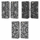 HEAD CASE BLACK LACE LEATHER BOOK WALLET CASE COVER FOR APPLE iPHONE PHONES