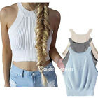 tp156 CFLB Ladies Halter Neck Crop Top Knit High Neck Sleeveless Tank T-shirt
